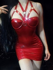Red Spaghetti Strap Lace Chain PU Leather Latex Patent Rubber Plus Size Bodycon Mini Dress