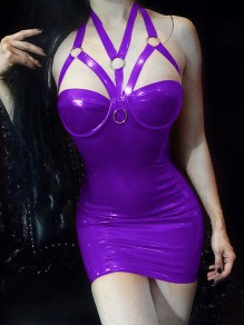 Purple Spaghetti Strap Lace Chain PU Leather Latex Patent Rubber Plus Size Bodycon Mini Dress