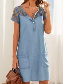 Blue Lace Buttons Pockets V-neck Short Sleeve Going Out Denim Mini Dress