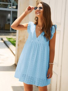 Light Blue Patchwork Lace Ruffle V-neck Sleeveless Fashion Mini Dress