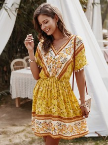 Yellow Flowers Pattern Elastic Waist Short Sleeve Fashion Mini Dress