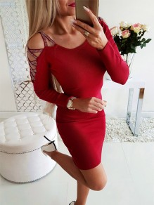 Mini robe une pièce casual rouge