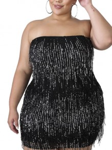 Black Patchwork Sequin Tassel Off Shoulder Bodycon Sparkly Glitter Birthday Plus Size Party Mini Dress