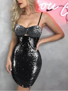 Black-Silver Patchwork Sequin Spaghetti Strap Sparkly Bodycon Banquet NYE Party Mini Dress