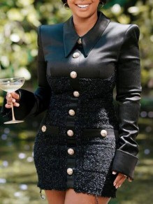 Black Patchwork Single Breasted Turndown Collar Bodycon Banquet Party Mini Dress