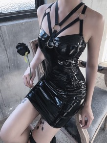 Black Lace-up Bodycon Rosatic Witch PU Leather Latex Rubber Party Mini Dress