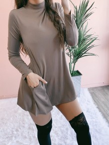 Khaki Patchwork Pockets Bodycon Long Sleeve Going out Mini Dresses