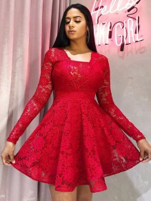 Red Patchwork Lace Pleated Long Sleeve Tutu Homecoming Party Mini Dress