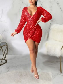 Red Patchwork Sequin Backless Bodycon Sparkly Glitter Birthday Party Mini Dress