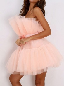 Apricot Patchwork Grenadine Off Shoulder Pleated Tutu Prom Evening Party Mini Dress