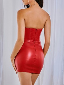 Red Off Shoulder Bodycon PU Leather Latex Rubber Party Mini Dress