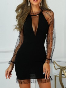 Black Patchwork Grenadine Pearl Bodycon NYE Party Mini Dress