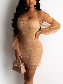 Light Brown Polka Dot Grenadine Bodycon Party Mini Dress
