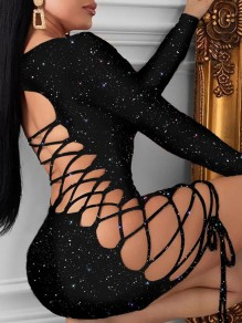 Black Bright Wire Lace-up Backless Bodycon Sparkly Glitter Birthday