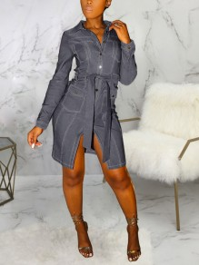Dark Grey Buttons Pockets Belt Front Slit Denim Party Mini Dress