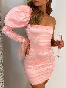 Pink Patchwork Grenadine Pearl Asymmetric Shoulder Bodycon Party Mini Dress