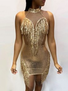 Golden Patchwork Grenadine Sequin Tassel Sheer Bodycon Sparkly Glitter Birthday Flapper Party Mini Dress