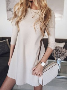 White Patchwork Wavy Edge Round Neck Three Quarter Length Sleeve Fashion Mini Dress