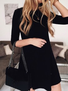 Black Patchwork Wavy Edge Round Neck Three Quarter Length Sleeve Fashion Mini Dress