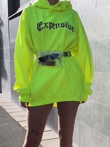"Neon Green ""EXPENSIVE"" Letter Pockets Print Hooded Long Sleeve Sweatshirts Mini Dress"