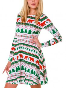 White Green Cartoon Christmas Tree Animal Print Draped Long Sleeve Party Mini Dress