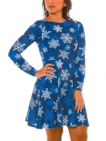 Blue Cartoon Snowflake Print Draped Long Sleeve Christmas Party Mini Dress