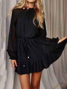 Black Cut Out Ruffle Sashes Backless Long Sleeve Fashion Mini Dress