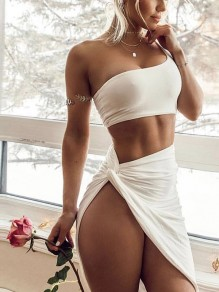White Irregular One-shoulder Crop Two Piece Side Slit Hip Bodycon Clubwear Beach Mini Dress