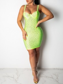 Neon Green Patchwork With Rhinestones Shoulder-Strap V-neck Hip Bodycon Clubwear Glitter Sparkly Party Mini Dress