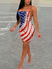 White American Flag Print Independence Day Backless Hip Bodycon Mini Dress