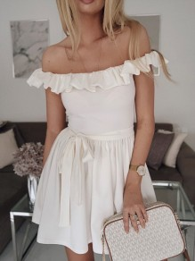 White Ruffle Sashes Pleated Off Shoulder Cocktail Party Mini Dress
