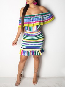 Blue Colorful Striped Ruffle Off Shoulder Hip Bodycon Ruched Casual Mini Dress
