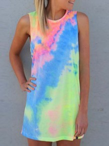 Rainbow Tie Dye Round Neck Sleeveless Casual Vest Mini Dress