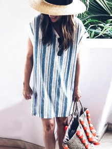 Blue White Striped Print Round Neck Short Sleeve Fashion Mini Dress