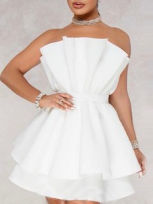 White Zipper Patchwork Layers Of Ruffle Bandeau Sleeveless Backless Party Evening Mini Dress