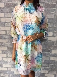 White Blue Butterfly Floral Pleated High Neck Long Sleeve Homecoming Party Mini Dress