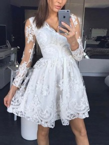 White Patchwork Lace V-neck Long Sleeve Elegant Cocktail Party Mini Dress