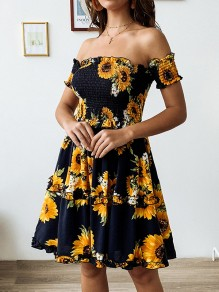 Navy Blue Patchwork Ruffle Sunflower Print Off Shoulder Ruched Square Neck Ruffle Short Sleeve Sundress Cute Mini Dress