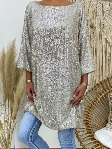 Mini robe sequin col rond manches 3/4 oversize argent