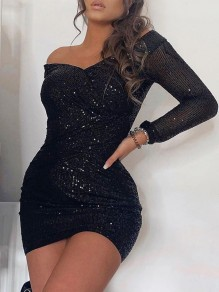 Black Irregular Sequin Off Shoulder Sparkly Banquet Party Mini Dress