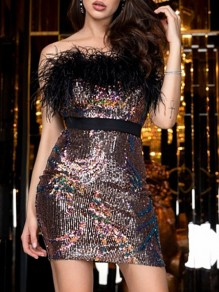 Brown Patchwork Sequin Feather Belt Bandeau Sleeveless Bodycon Party Mini Dress
