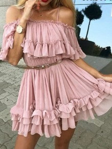 Pink Grenadine Ruffle Spaghetti Strap A-Line Sweet Mini Dress