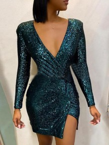 Green Irregular Sequin Deep V-neck Side Slit Bodycon Sparkly Banquet Party Mini Dress