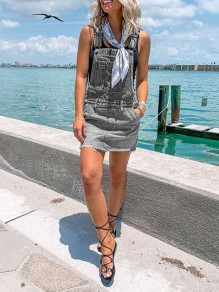Grey Patchwork Shoulder-Strap Pockets Denim Overall Skirt Fashion Mini Dress