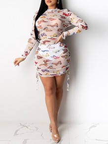 White Butterfly Print Grenadine Band Collar Long Sleeve Sheer Drawstring Bodycon Mini Dress