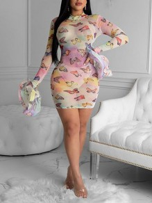 White Butterfly Print Grenadine Sheer Bell Sleeve Bodycon Party Mini Dress