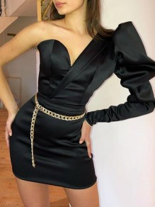 Black Asymmetric Shoulder Puff Sleeve Bodycon Prom Evening Party Mini Dress