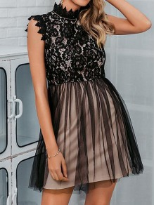 Black Patchwork Lace Grenadine Band Collar Sleeveless Cute Prom Tulle Mini Dress
