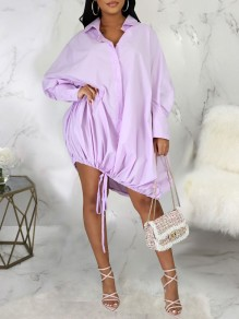 Purple Patchwork Pockets Buttons Drawstring Turndown Collar V-neck Long Sleeve Plus Size Mini Dress