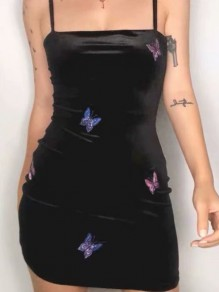 Black Coloful Butterfly Embroidered Print Adjustable-straps Bodycon Mini Dress